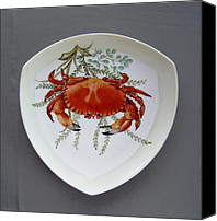 Plate Ceramics Canvas Prints - 866 6 Part of Crab Set  866  Canvas Print by Wilma Manhardt