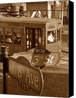 Trolley Canvas Prints - 8th Ave Trolley Canvas Print by David Lee Thompson