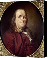 Colonial Man Canvas Prints - Benjamin Franklin (1706-1790) Canvas Print by Granger