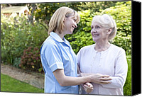 Consoling Canvas Prints - Nurse On A Home Visit Canvas Print by 