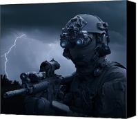 Navy Seals Canvas Prints - Special Operations Forces Soldier Canvas Print by Tom Weber
