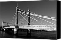 Albert Bridge Canvas Prints - The Albert Bridge London Canvas Print by David Pyatt