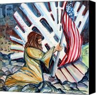 Nyc Drawings Canvas Prints - 911 Cries for Jesus Canvas Print by Mindy Newman