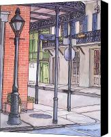 Louisiana Drawings Canvas Prints - 96  French Quarter Corner of Royal Canvas Print by John Boles