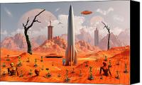 Rocketship Canvas Prints - A 1950s Style Scene Showing Canvas Print by Mark Stevenson