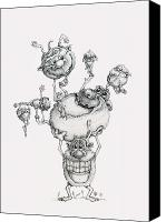 Funny Drawings Canvas Prints - A Balancing Act Canvas Print by Philip and Monica Straub