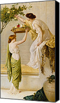 Toga Canvas Prints - A Basket of Roses - Grecian Girls Canvas Print by Henry Thomas Schaefer