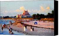 Hotel Digital Art Canvas Prints - A Beach Scene Canvas Print by David Lee Thompson