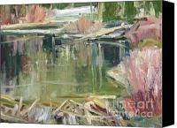 River Framed Prints Painting Canvas Prints - A Beaver Pond Canvas Print by Thomas Wezwick