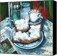 Food Painting Canvas Prints - A Beignet Morning Canvas Print by Dianne Parks