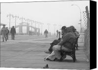 Talking Photo Canvas Prints - A Bench at Coney Island Canvas Print by Peter Aiello