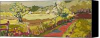 Road Painting Canvas Prints - A Bend in the Road Canvas Print by Jennifer Lommers
