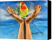 Pencil Drawing Canvas Prints - A Bird in Two Hands Canvas Print by Anthony Caruso