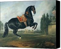 Athletic Painting Canvas Prints - A black horse performing the Courbette Canvas Print by Johann Georg Hamilton