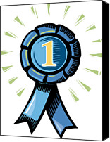 Award Digital Art Canvas Prints - A Blue Number One Ribbon Canvas Print by Stephanie Carter