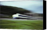 Rail Vehicles Canvas Prints - A Blurred View Of The Bullet Train Canvas Print by Paul Chesley
