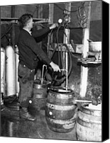 Csx Canvas Prints - A Brewmeister Fills Kegs At A Bootleg Canvas Print by Everett