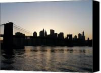 Brooklyn Bridge Canvas Prints - A Bridge Over The River Hudson Canvas Print by Kendall Eutemey