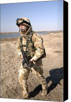 Foot Patrol Canvas Prints - A British Army Soldier On Patrol Canvas Print by Andrew Chittock
