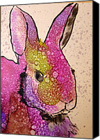 Alcohol Ink Canvas Prints - A Bunny Raggitt Canvas Print by P Maure Bausch