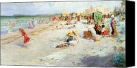 Beach Scenes Canvas Prints - A Busy Beach in Summer Canvas Print by Alois Hans Schram