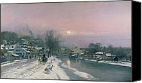White River Scene Canvas Prints - A Canal Scene in Winter  Canvas Print by Anders Anderson Lundby