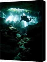 Cavern Canvas Prints - A Cavern Diver Enters The Taj Mahal Canvas Print by Karen Doody