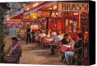 Street Scene Canvas Prints - A Cena In Estate Canvas Print by Guido Borelli