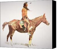 Pioneers Painting Canvas Prints - A Cheyenne Brave Canvas Print by Frederic Remington