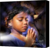 Spirituality Mixed Media Canvas Prints - A Childs Prayer Canvas Print by Bob Salo