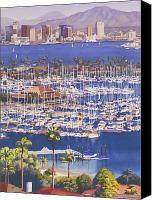 Yachts Painting Canvas Prints - A Clear Day in San Diego Canvas Print by Mary Helmreich