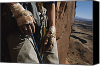 Bandages Canvas Prints - A Close View Of Rock Climber Becky Canvas Print by Bill Hatcher