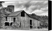 White Barns Canvas Prints - A Cloudy Day BW Canvas Print by JC Findley
