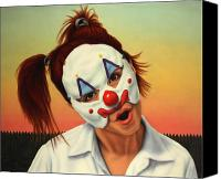 Fence Canvas Prints - A clown in my backyard Canvas Print by James W Johnson
