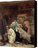 Ancient Greece Painting Canvas Prints - A Collector of Pictures at the Time of Augustus Canvas Print by Sir Lawrence Alma-Tadema