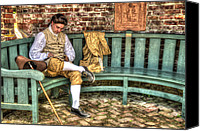 Colonial Man Digital Art Canvas Prints - A Colonial Gentleman At Rest Canvas Print by Robert Nelson