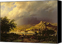 Hill Town Canvas Prints - A Coming Storm Canvas Print by Barend Cornelis Koekkoek