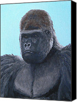 Gorilla Painting Canvas Prints - A Contemplative Gorilla Canvas Print by Margaret Saheed