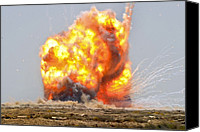 Second Gulf War Canvas Prints - A Controlled Detonation Of Captured Canvas Print by Everett
