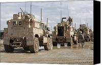Afghanistan Canvas Prints - A Convoy Of Mrap Vehicles Near Camp Canvas Print by Stocktrek Images