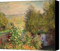 Monet Painting Canvas Prints - A Corner of the Garden at Montgeron Canvas Print by Claude Monet