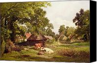 Donkey Painting Canvas Prints - A Cottage Home in Surrey Canvas Print by Edward Henry Holder