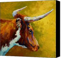Farms Canvas Prints - A Couple Of Pointers - Longhorn Steer Canvas Print by Marion Rose