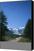 Dirt Roads Photo Canvas Prints - A Couple Walks Toward The Morteratsch Canvas Print by Taylor S. Kennedy