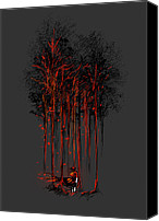 Wood Digital Art Canvas Prints - A crimson retaliation Canvas Print by Budi Satria Kwan