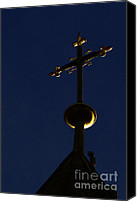 Christian Sacred Canvas Prints - A Cross on St Vitus Cathedral Prague Canvas Print by Christine Till