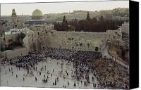 Religious Structures Canvas Prints - A Crowd Gathers Before The Wailing Wall Canvas Print by James L. Stanfield