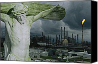 Disasters Canvas Prints - A Crucifixion Statue In A Cemetery Canvas Print by Joel Sartore