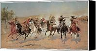 Remington Canvas Prints - A Dash for the Timber Canvas Print by Frederic Remington