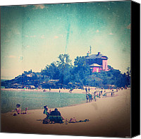 Marquette Digital Art Canvas Prints - A Day At The Beach #2 Canvas Print by Phil Perkins